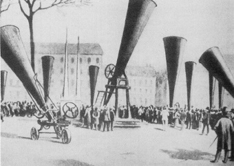 Hail cannons at an international congress on hail shooting held in 1901. Photo: Public Domain/Plumandon